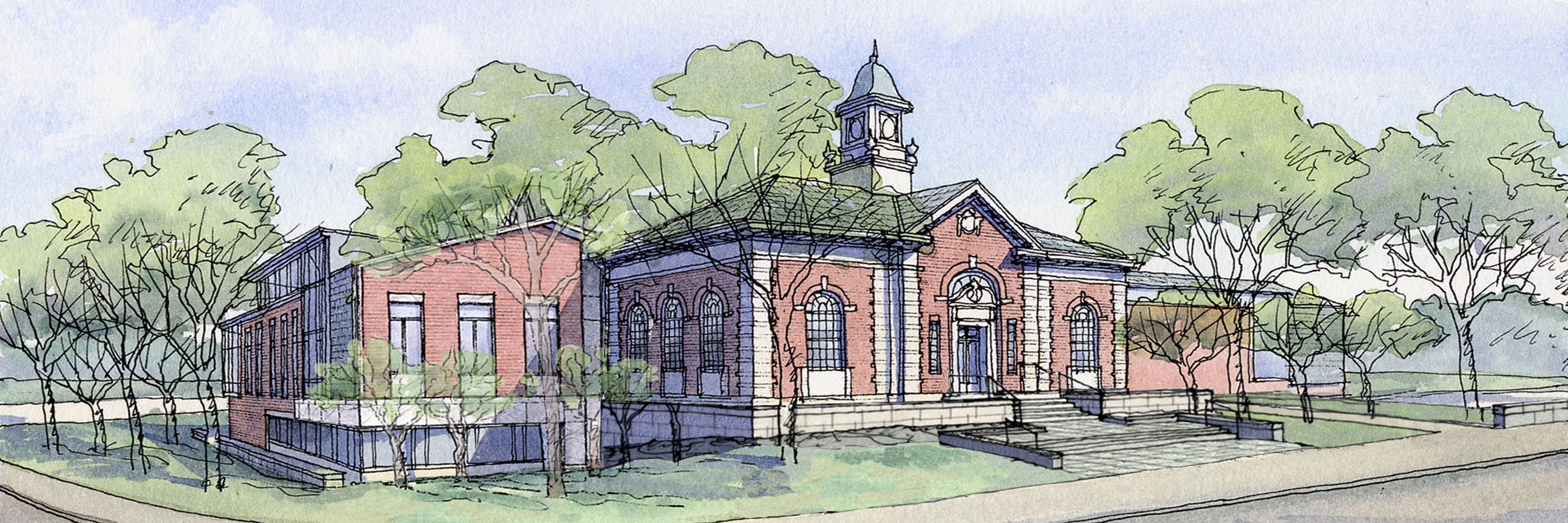 Illustration of Needham Free Public Library