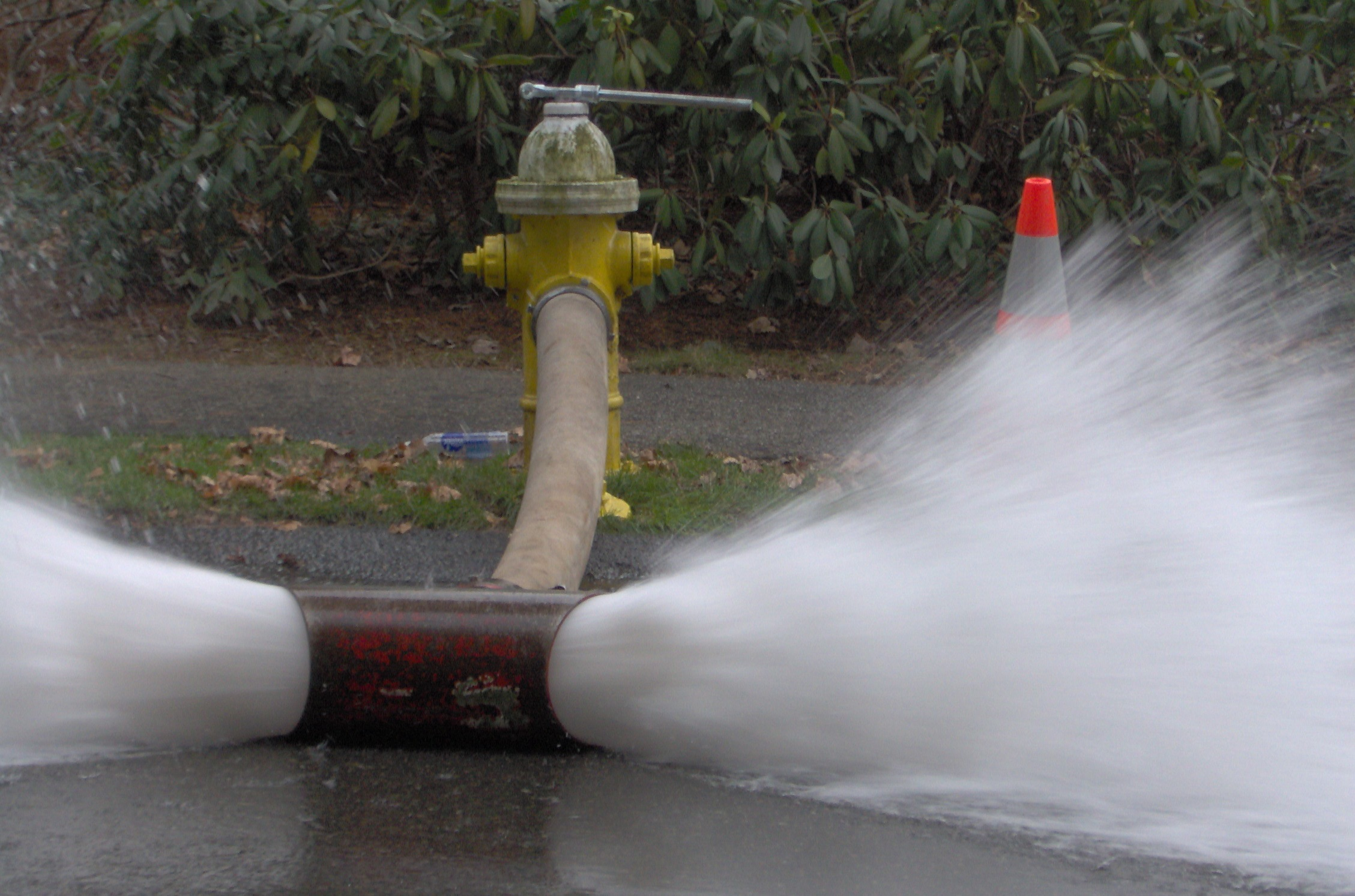 Fire hydrants with water coming out of it