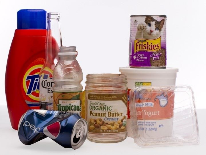 Picture of items that can go in Commingled Recycling collections