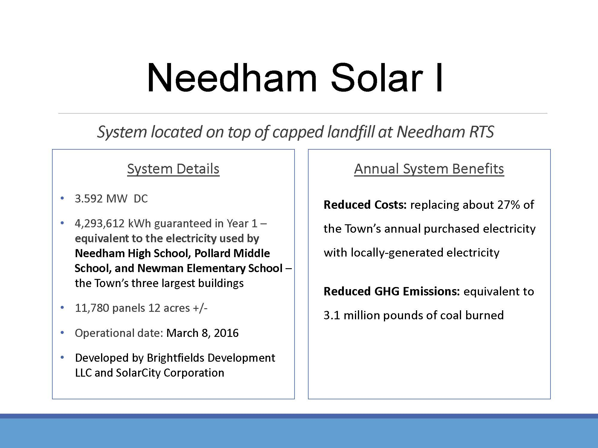 Page 2 of the Green Needham Presentation of the Solar 1 Landfill Project