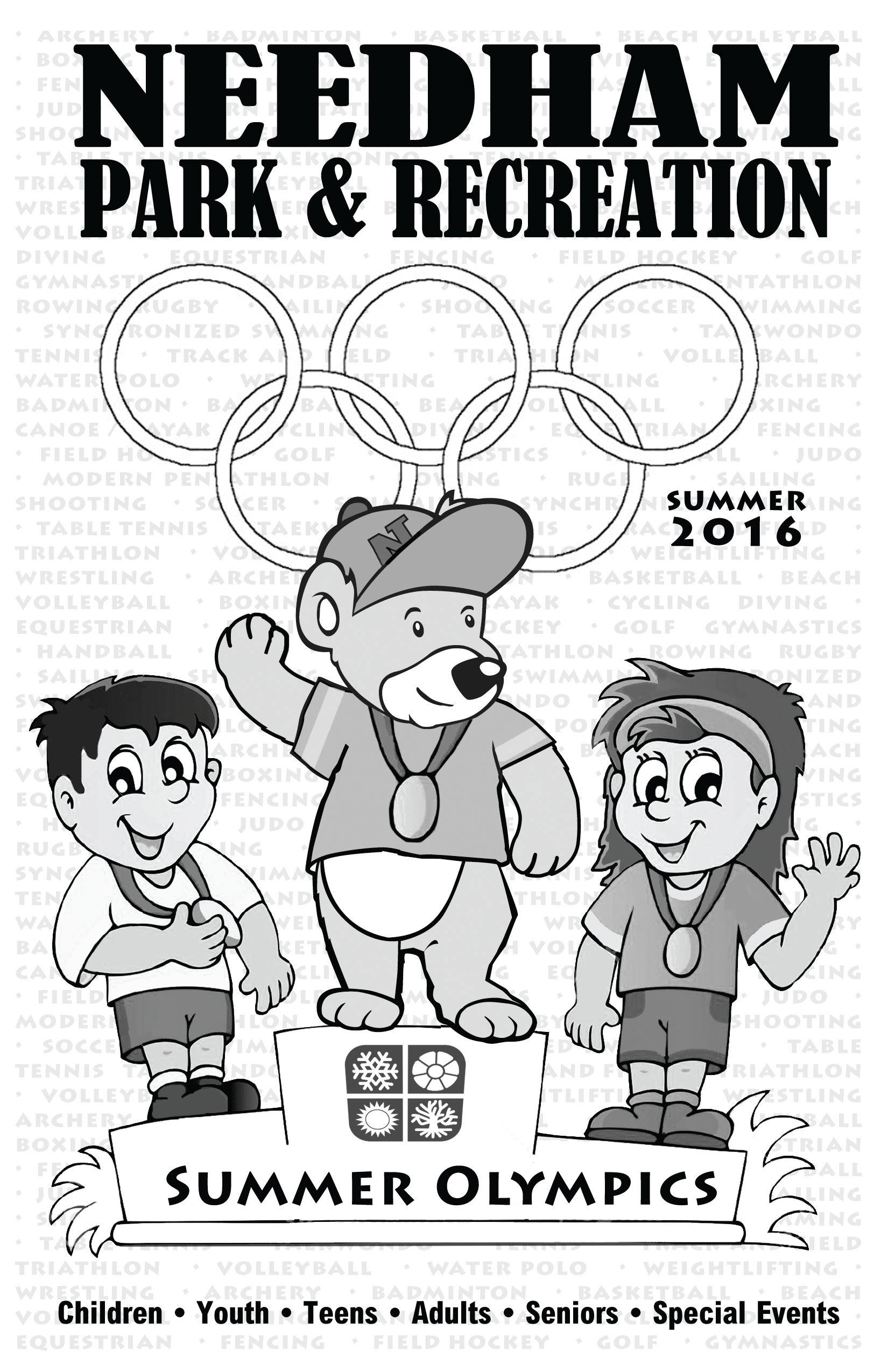 This is the cover image of the 2016 Summer Brochure featuring Parker, the Park and Recreation mascot, on top of an olympic podium!